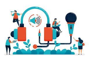 Cuffie e microfono per registrazioni radiofoniche, podcast di produzione multimediale, assistenza clienti e telemarketing, apparecchiature musicali da studio per trasmissioni. illustrazione del sito Web, banner, software, poster vettore