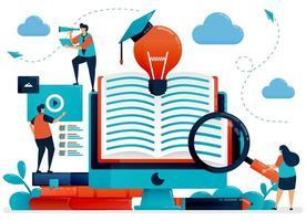 biblioteca digitale per ottenere idee, ispirazione e soluzioni. apprendimento online per studenti. app di lettura, libri online. istruzione di blog.illustrazione vettoriale, pagina di destinazione, carta, banner, brochure, flyer vettore