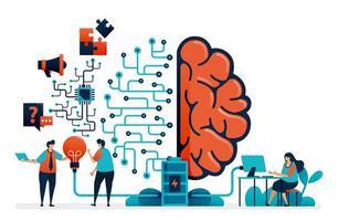 intelligenza artificiale per la risoluzione dei problemi. sistema di rete del cervello artificiale. tecnologia di intelligenza per domanda e risposta, idee, completamento dell'attività, promozione. biglietto da visita, banner, brochure, flyer vettore