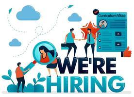 stiamo assumendo poster con profilo curriculum vitae per candidarsi per un lavoro. reclutamento aperto e offerte di lavoro, ottieni i migliori talenti per la posizione aziendale. illustrazione per biglietto da visita, banner, brochure, flyer vettore