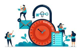 gestione del tempo al lavoro, multitasking nella gestione del tempo, pianificazione della sicurezza e pianificazione aziendale, blocco del lucchetto del cronometro, sicurezza del blocco dell'orologio. illustrazione vettoriale di banner del sito Web, software, poster