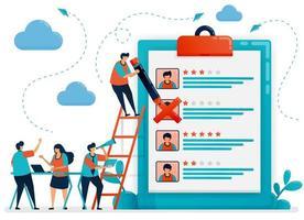 le persone discutono sulla scelta del potenziale dipendente. scegli la posizione del dipendente. assunzione e reclutamento di dipendenti online. colloquio di lavoro in agenzia. illustrazione vettoriale per biglietto da visita, banner, brochure, flyer