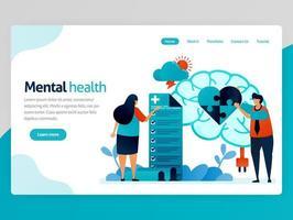 illustrazione di salute mentale. le persone controllano mentalmente e psicologicamente. puzzle del cuore. trattamento del cervello e terapia di consulenza. fumetto vettoriale per le app del modello di pagina web di destinazione dell'intestazione della home page del sito