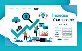 pagina di destinazione per il business e aumento dei ricavi, aumento dei ricavi e dei profitti in azienda, grafico e grafico per analisi statistiche e strategia finanziaria. app mobili per poster di volantini di disegno vettoriale