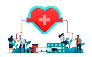 le persone donano il sangue ai servizi di emergenza ospedaliera. borsa per trasfusione con cuore e croce rossa. medico controlla la salute dei pazienti per il donatore. illustrazione per biglietto da visita, banner, brochure, flyer vettore