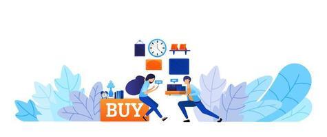 esperienza di acquisto di beni online con consegna rapida acquista ora e acquista subito. concetto di illustrazione vettoriale tecnologia e-commerce per pagina di destinazione, web, ui, banner, flyer, poster, modello, sfondo
