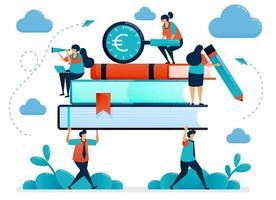 metafore dell'onere dei costi dell'istruzione. gli studenti portano libri pesanti. alla ricerca di finanziamenti per l'istruzione. programma di borse di studio scolastiche gratuite. illustrazione vettoriale, disegno grafico, carta, banner, brochure, flyer vettore