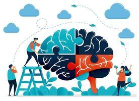 brainstorming per risolvere enigmi cerebrali. metafora del lavoro di squadra e della collaborazione. intelligenza nella gestione di sfide e problemi. illustrazione vettoriale, disegno grafico, carta, banner, brochure, flyer vettore