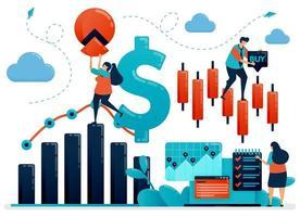 piattaforma finanziaria per aiutare a scegliere l'investimento. dati statistici per la contabilità. analisi dei dati aziendali e crescita aziendale. illustrazione umana di vettore piatto per pagina di destinazione, sito Web, mobile, poster