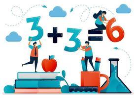 educazione per i bambini. lezione di matematica per contare e numerare. bambini che imparano a scuola. asilo nido prescolare. illustrazione vettoriale di carattere piatto per pagina di destinazione, web, banner, app mobili, poster