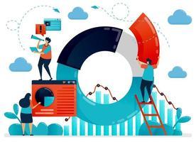 strategia aziendale con dati statistici su grafico a torta e grafico. pianificare e ricercare per ottimizzare le prestazioni e la crescita aziendale. illustrazione umana di vettore piatto per pagina di destinazione, sito Web, mobile, poster