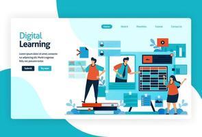 illustrazione della pagina di destinazione per l'apprendimento digitale. apprendimento mediante tecnologia o pratica didattica efficace per trasferire conoscenza, abilità, valore, convinzione e abitudine. adattivo e analitico