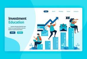 disegno vettoriale della pagina di destinazione per l'educazione agli investimenti. mercato azionario con strategia, analisi, pianificazione. crescita del mercato dei capitali, ritorno dell'investimento. per banner, illustrazione, web, sito Web, app mobili