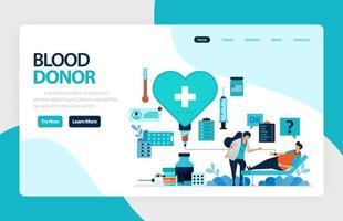 modello di illustrazione piatto vettoriale di donazione di sangue e beneficenza. 14 giugno in giornata del donatore di sangue, controllo medico di sensibilizzazione, trasfusione in ospedale. per banner, pagina di destinazione, web, sito Web, app mobili