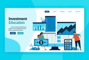 disegno vettoriale della pagina di destinazione per l'educazione agli investimenti. ritorno dell'investimento con pianificazione, borsa e fondi comuni di investimento, reddito fisso, mercato monetario. per banner, illustrazione, web, sito Web, app mobili