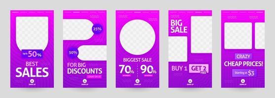 illustrazioni astratte del modello di storia dei social media. post sconto e vendita per moda e vendita al dettaglio moderna. pubblicità, marketing, promozione online. brochure stampa digitale, flyer, banner, carta