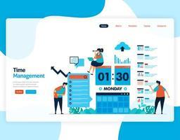 vettore della pagina di destinazione della gestione del tempo e della pianificazione dei lavori progettare, pianificare e gestire il lavoro in tempo, mancanza di tempo negli affari, lavorare con il tempo. illustrazione per sito Web, app mobili, homepage, flyer, carta
