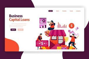 illustrazione vettoriale di prestiti di capitale di rischio per lo sviluppo e gli investimenti delle PMI. credito a basso interesse per giovani imprenditori e startup. per sito Web, pagina di destinazione, banner, app mobili, volantino