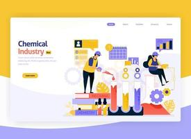 illustrazione vettoriale per la lavorazione chimica industriale, impianti di produzione e sviluppo chimico, produzione e industria dei combustibili. per web, sito Web, pagina di destinazione, app mobile, banner, flyer, brochure