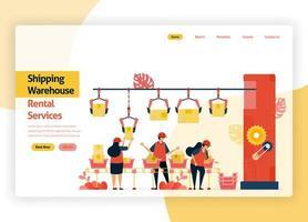 sito web della pagina di benvenuto per società di servizi di noleggio di magazzini, trasporti di consegne, porti, merci aeronautiche e trasporti pubblici. magazzino con macchine confezionatrici. pagina di destinazione, banner, app mobili