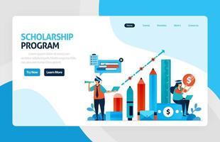 illustrazione vettoriale del programma di istruzione borsa di studio, apprendimento all'estero. fondi finanziari e prestiti di studio per l'istruzione. risultati accademici, costo della scuola. per banner, web, sito Web, app mobili, volantini