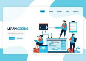 homepage vettoriale per l'apprendimento della programmazione e della codifica. sviluppo di applicazioni con un semplice linguaggio di programmazione. illustrazione piatta per pagina di destinazione, modello, ui ux, web, app mobile, banner, volantino
