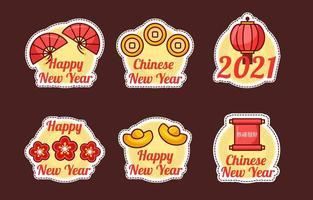 simpatica collezione di adesivi per la festa del capodanno cinese vettore