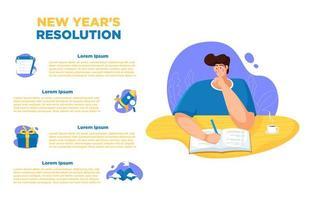 illustrazione di concetto di risoluzione del nuovo anno vettore