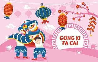 gong danza del leone xi fa cai saluto