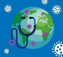 pianeta del mondo con particelle covid 19 e stetoscopio