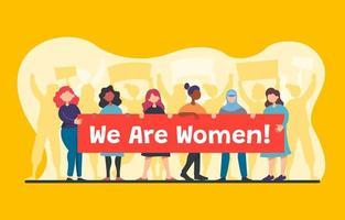 donne in piedi insieme al banner vettore