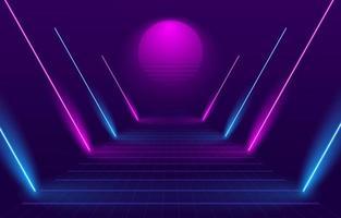 Percorso in stile anni '80 con luci al neon vettore
