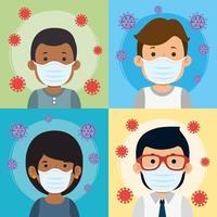 gruppo di persone che usano la maschera facciale per la pandemia covid19 vettore