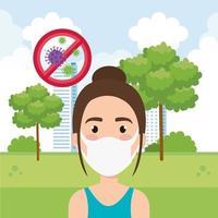 donna che utilizza la maschera per il viso per la pandemia covid19 vettore