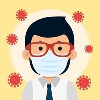 uomo che utilizza la maschera facciale per la pandemia covid19 vettore