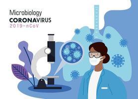 microbiologia per covid 19 e dottoressa e microscopio vettore
