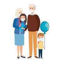 nonni con nipoti che usano la maschera per il viso vettore