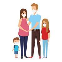 genitori con bambini che usano la maschera facciale vettore