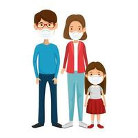 genitori con figlia utilizzando maschera facciale vettore