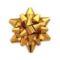 arco regalo realistico dorato isolato su priorità bassa bianca.