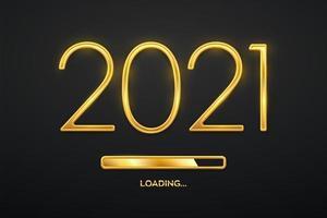 felice anno nuovo 2021. numeri di lusso metallici dorati 2021 con barra di caricamento dorata. conto alla rovescia del partito. segno realistico per biglietto di auguri. poster festivo o design di banner per le vacanze. vettore