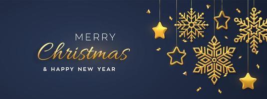 sfondo blu di Natale con appesi brillanti fiocchi di neve dorati e stelle metalliche 3d. buon natale biglietto di auguri. vacanza natale e capodanno poster, banner web. vettore