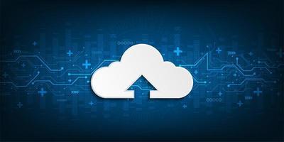 interfaccia cloud che mostra il caricamento dei dati su Internet vettore