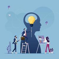 concetto di innovazione aziendale, lampadina come metafora dell'idea vettore