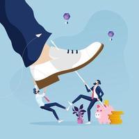 uomo d'affari in lotta con il gigantesco concetto di rivalità piede-affari