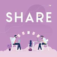 condividere il concetto di vettore-uomo d'affari utilizzando tablet pc per la condivisione dei dati vettore