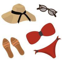 set da spiaggia per donna. vettore