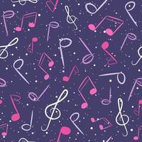 modello senza cuciture musicale rosa e viola. vettore