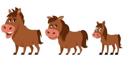 famiglia di cavalli in stile cartone animato. vettore