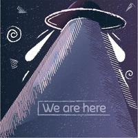 poster alieno vintage con texture grunge e un'astronave. vettore